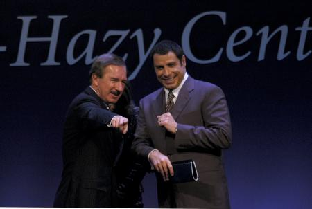 Steven Udvar-Hazy, left, and pilot and actor John Travolta at the Steven F. Udvar-Hazy Center dedica