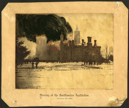 The 1865 fire at the Smithsonian Castle building destroyed invaluable documents and early collections. Alexander Gardner hand-tinted  an albumen print of the Castle to give an idea of the fire in progress.