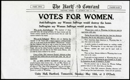 """""""Votes for Women"""" newspaper article in """"The Hartford Courant,"""" May 14, 1910."""