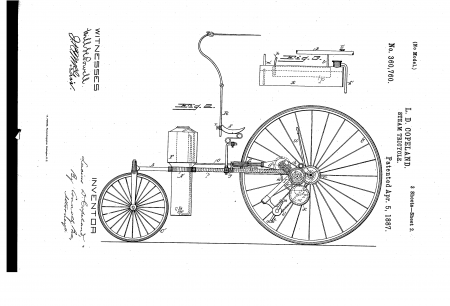 """Steam Tricycle"" patent, 1887."