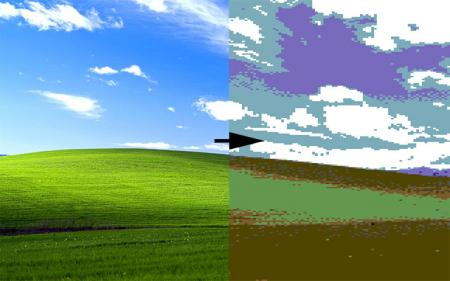 "What the iconic Windows XP ""Bliss"" wallpaper photo looks like before and after Commodore 64 conversion."