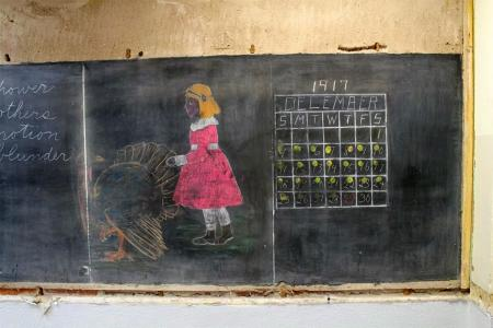 Untouched school chalkboards from 1917. Courtesy of Oklahoma City Public Schools.