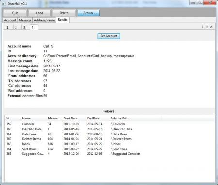 Screenshot of the Smithsonian Institution Archives' DArcMail email processing software. The database allows searching of sender, attachment name, date, and more of an email account, as well as providing dates of the account and number of messages within directory folders.