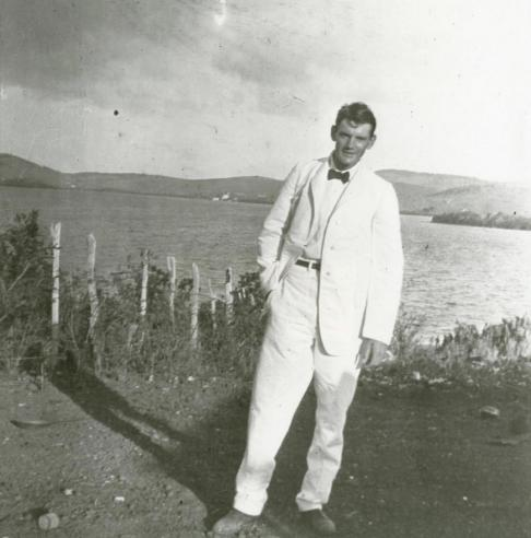 Alexander Wetmore as a young man, assisting on a field expedition in Wyoming, 1910.