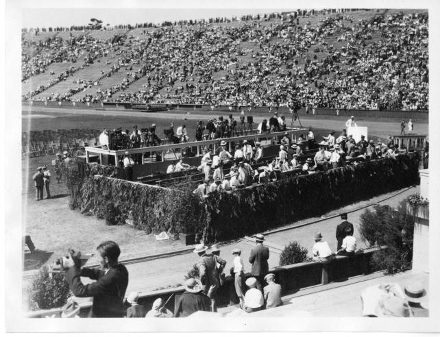 Press stands in Stanford University Bowl