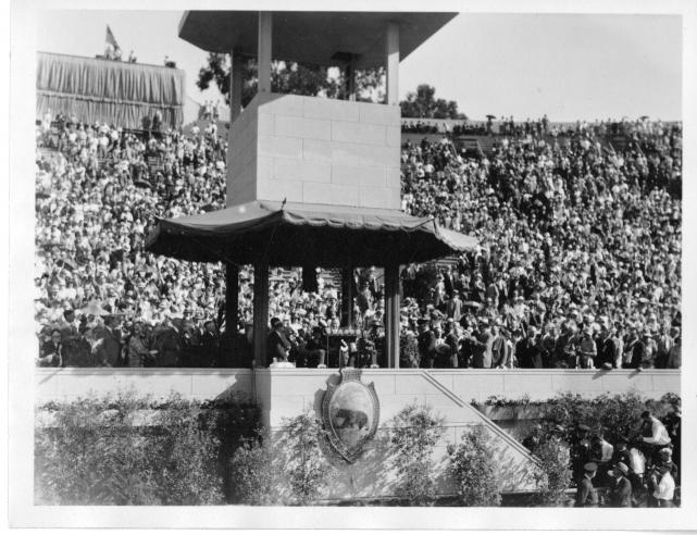 Hoover delivering a speech at Stanford Bowl