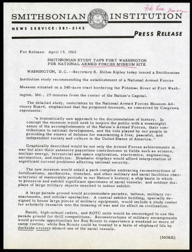 Official press release announcing the National Armed Forces Museum, April 19, 1965.