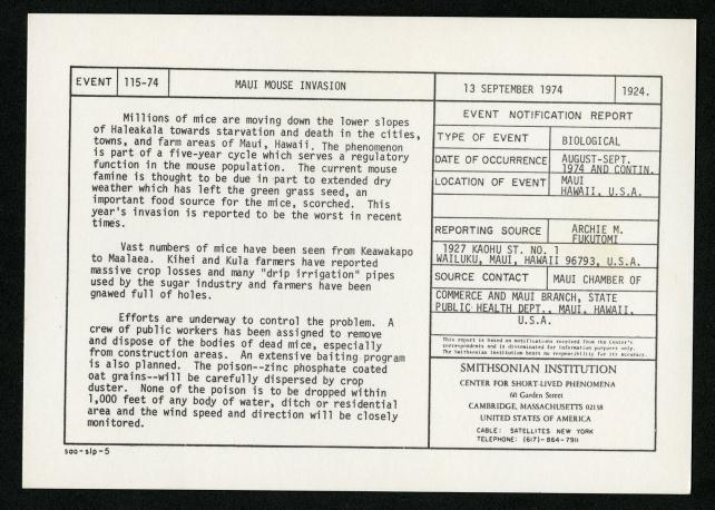 Event card - Maui Mouse Invasion, September 13, 1974