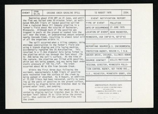 Event card - Cascade Creek Gasoline Spill, August 12, 1975