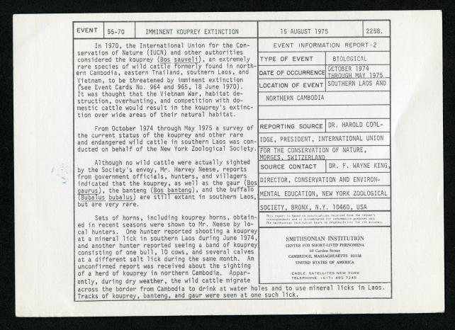 Event card - Imminent Kouprey Extinction, August 15, 1975