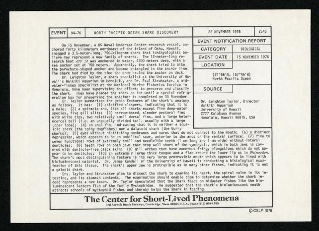 Event card - North Pacific Ocean Shark Discovery, November 22, 1976