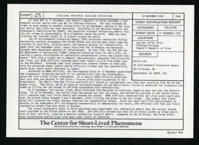 Event card - Sinkiang Province Nuclear Explosion, November 24, 1976