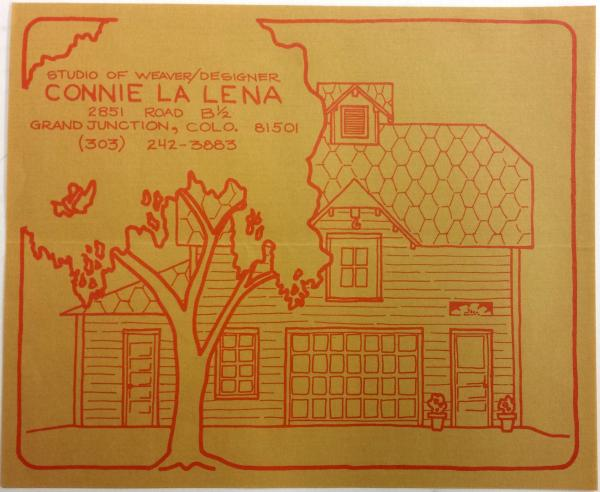 Sunflower - Studio of Weaver/Designer Connie La Lena envelope.