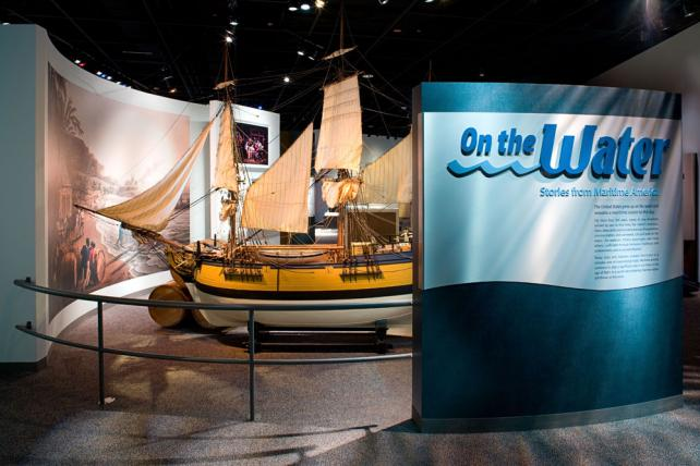 "The model of the tobacco ship ""Brilliant"" introduces visitors to ''On the Water'' exhibition Virgini"
