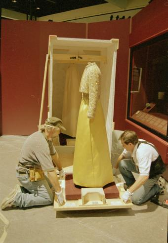 Unpacking Patricia Nixon's Inaugural Gown at LA Convention Center, by Jeff Tinsl