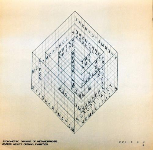 Axonometric Drawing of Metamorphosis, Cooper Hewitt Opening Exhibition.