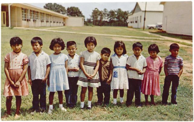 """Ten Little Choctaw Indians,"" c. 1960, postcard, National Museum of the American Indian, P19474."