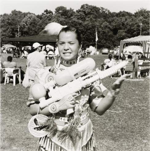 """Jingle Dress Dancer,"" by Tom Jones, Ho Chunk (Winnebago), 1999, silver gelatin print, National Muse"