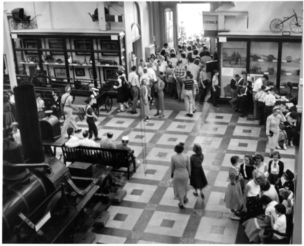 Visitors to the Transportation Hall, Arts & Industries Building, 1955, SIA2010-3259.