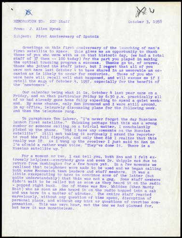 October 3, 1958 Memorandum from J. Allen Hynek to Satellite Tracking Program Staff on the first anniversary of Sputnik, page 1.