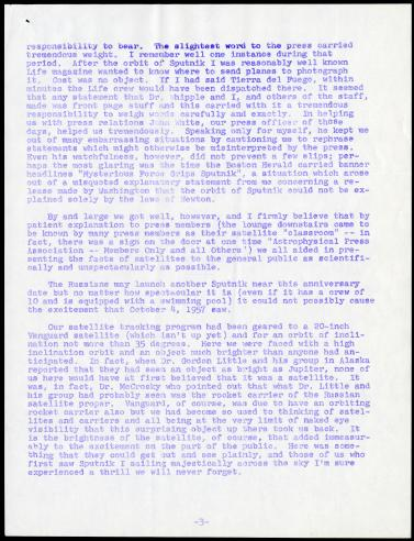 October 3, 1958 Memorandum from J. Allen Hynek to Satellite Tracking Program Staff on the first anniversary of Sputnik, page 3.