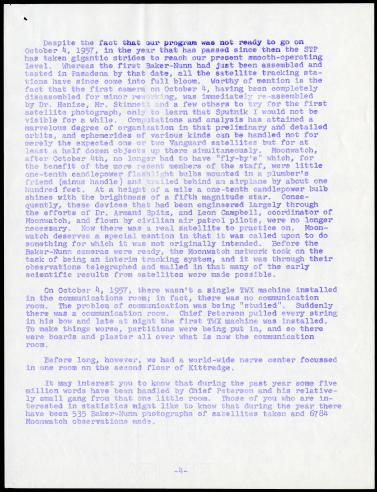 October 3, 1958 Memorandum from J. Allen Hynek to Satellite Tracking Program Staff on the first anniversary of Sputnik, page 4.