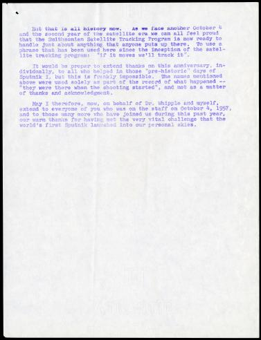 October 3, 1958 Memorandum from J. Allen Hynek to Satellite Tracking Program Staff on the first anniversary of Sputnik, page 5.