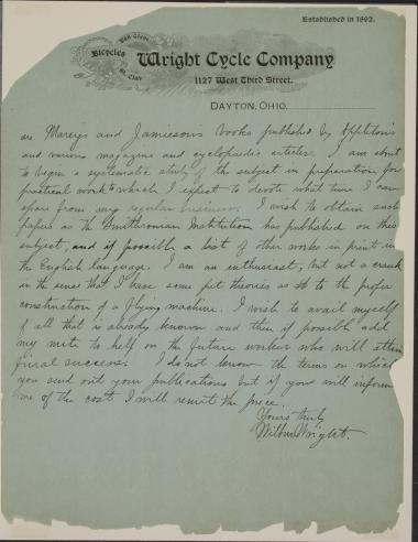 Letter from the Wright brothers to the Smithsonian Institution, May 30, 1899.