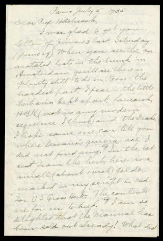 Letter - Mary Agnes Chase to Albert Spear Hitchcock, July 5, 1935.