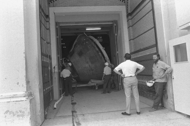 Apollo 11 Command Module Moving Out of A&I, By Richard Ferrar