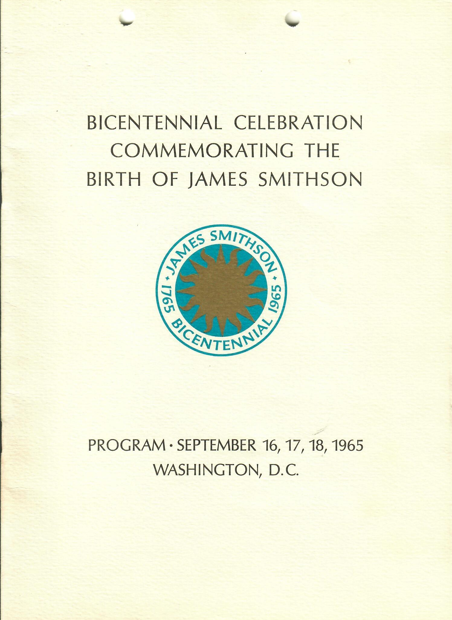 Cover of Bicentennial Celebration program depicting Crimilda's final design for the Bicentennial whi