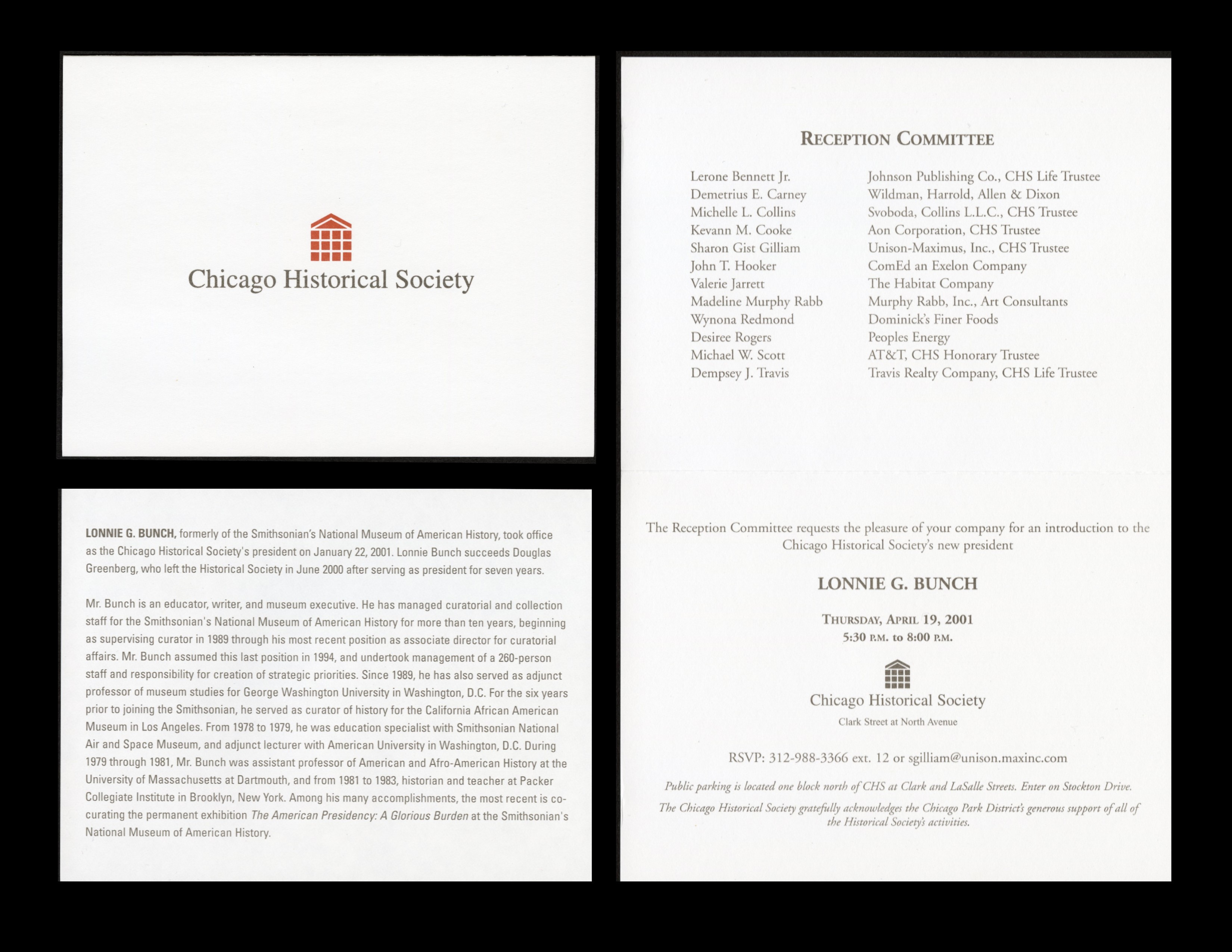 Invitation to reception to welcome Lonnie G. Bunch as the new president of the Chicago Historical So
