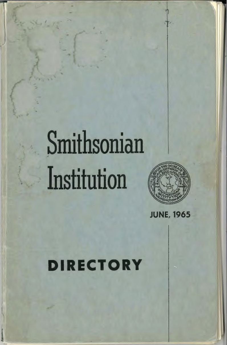 Cover from the first official directory of the Smithsonian Institution from 1965.