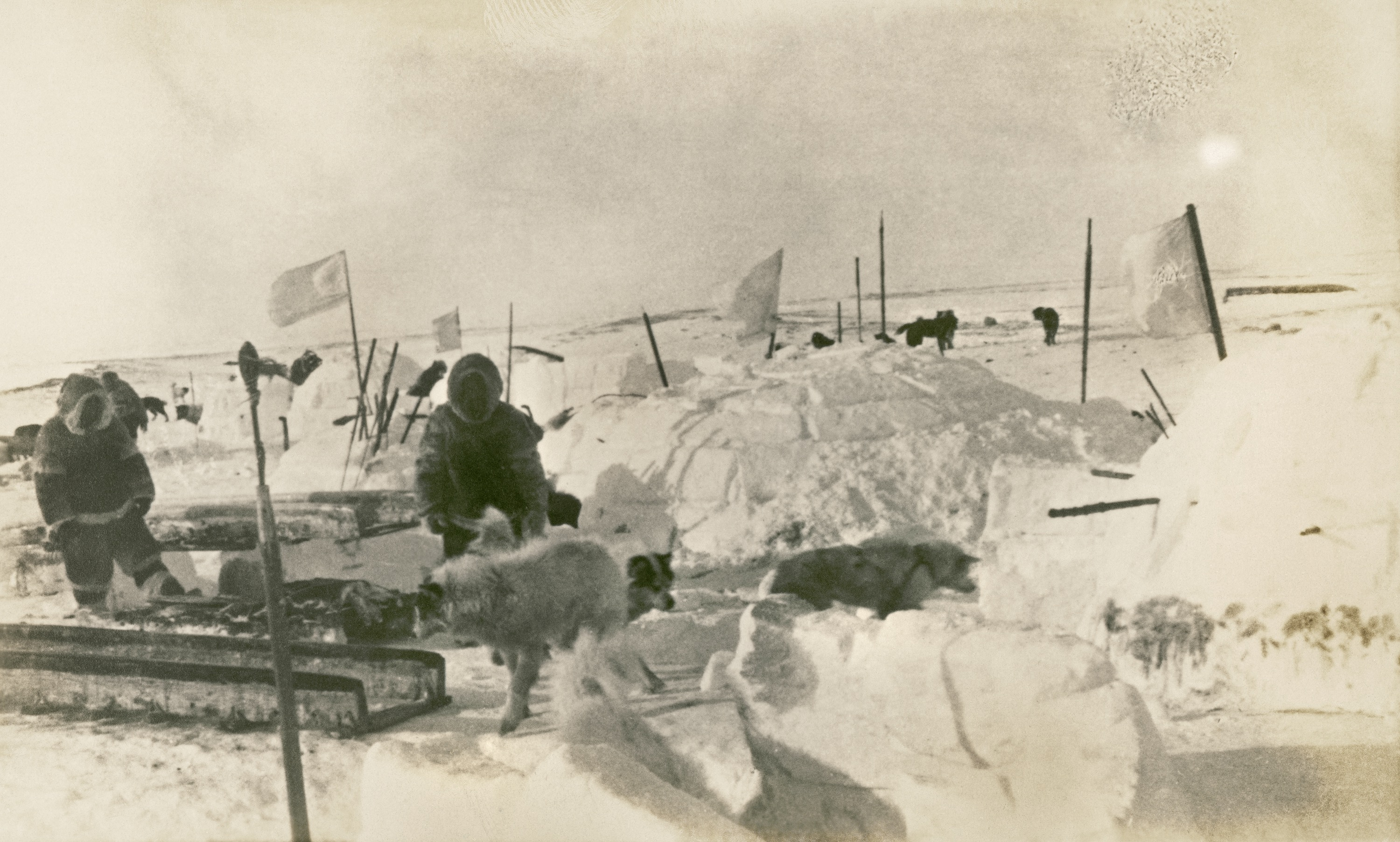 Black and white image of men and dogs in artic setting.