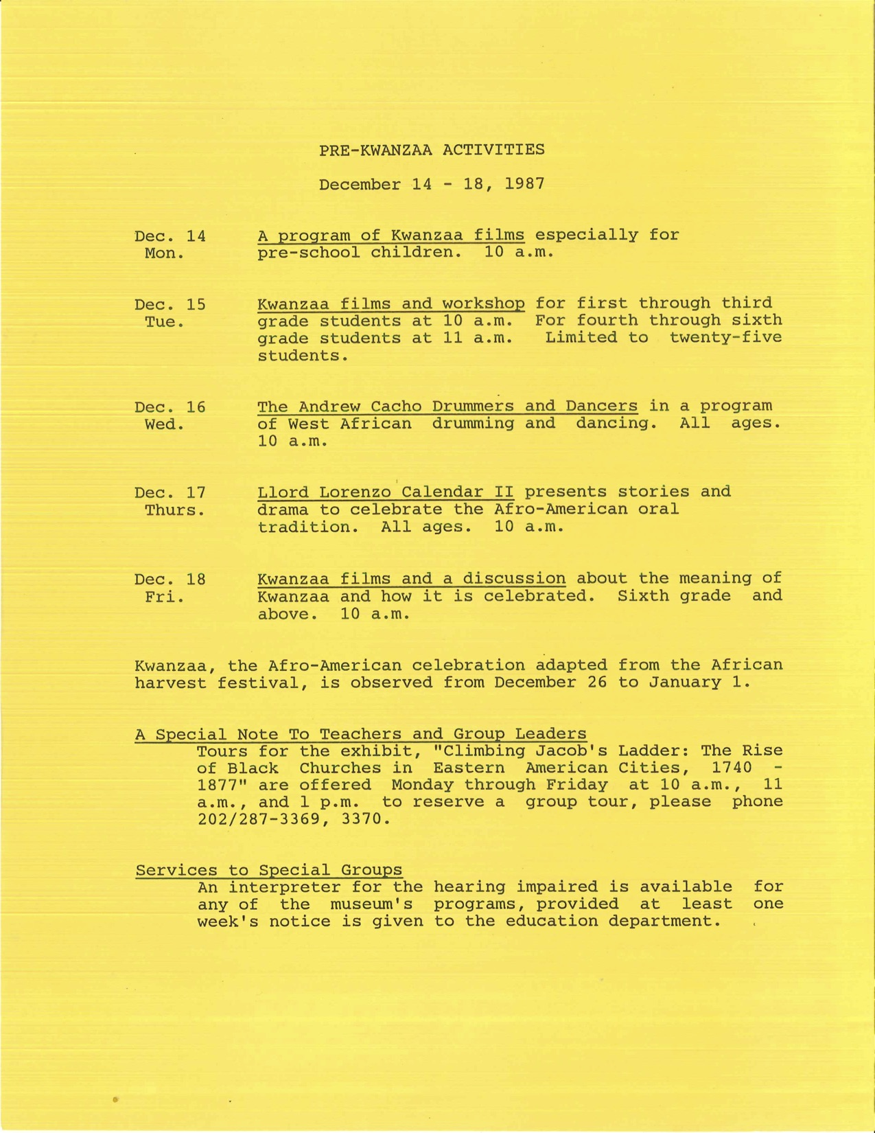 A list of five Kwanzaa activities that took place each night of the week of December 14-18, 1987. Al