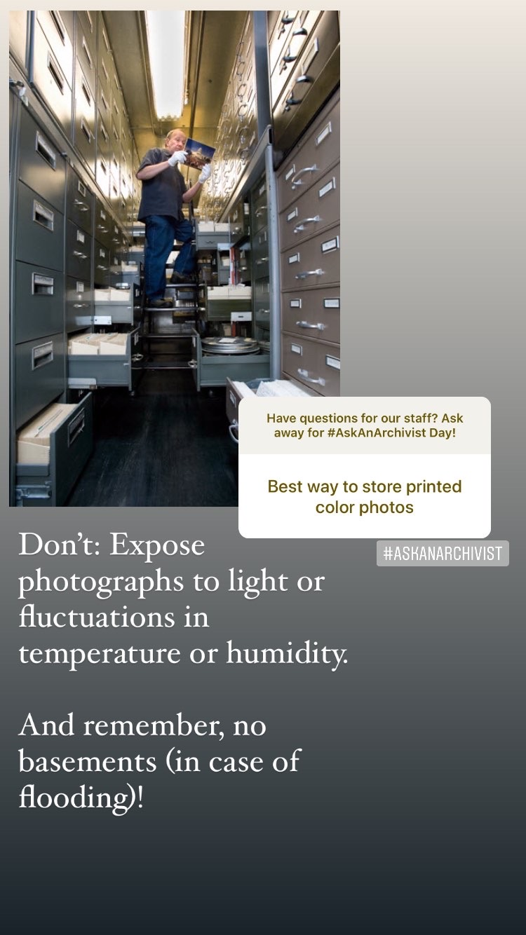 Slide about what not to do: avoid light, storage in basement, fluctuations in temp and humidity.