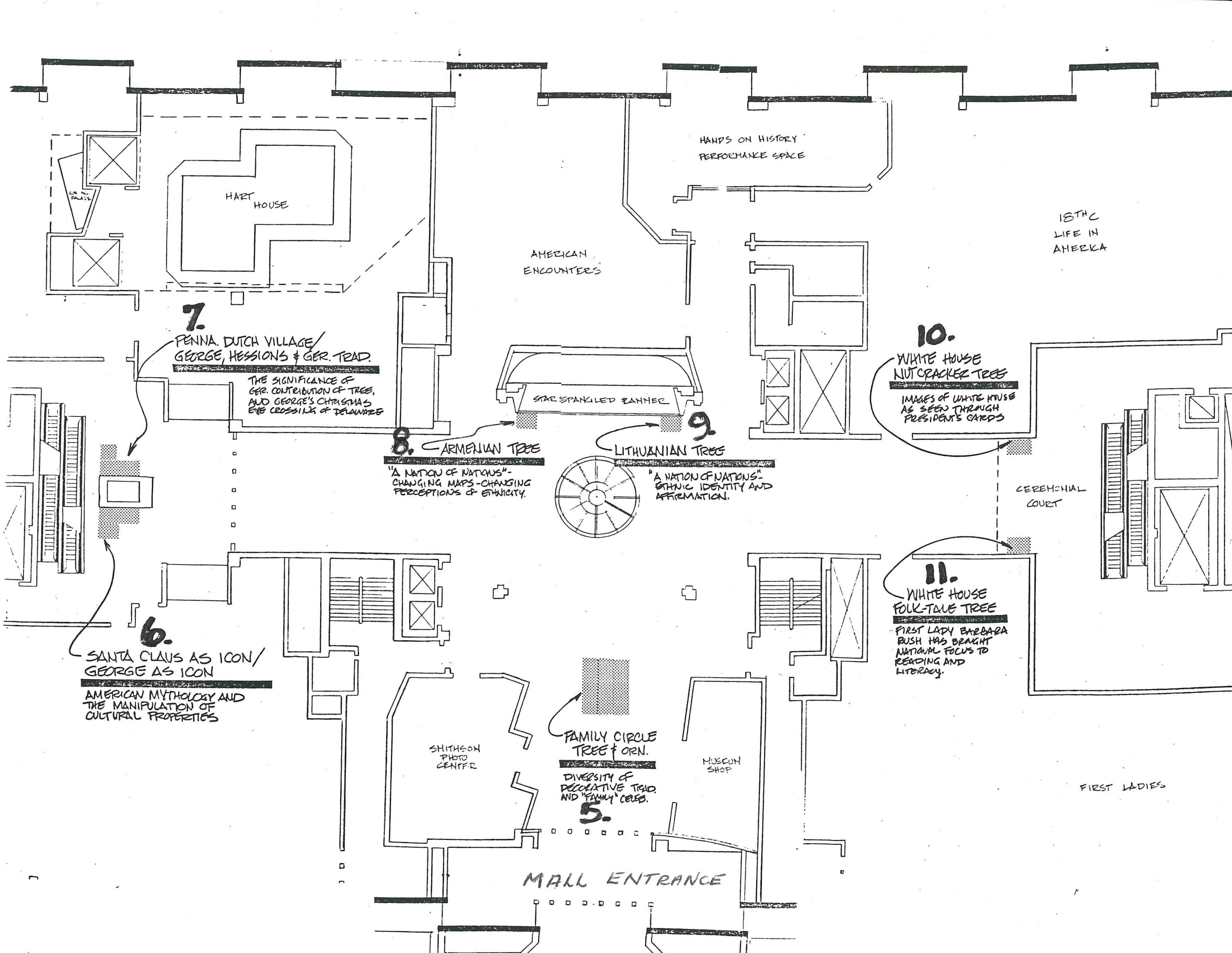 Trees of Christmas - Floor plans, 1992. Smithsonian Institution Archives, Accession 96-001: National