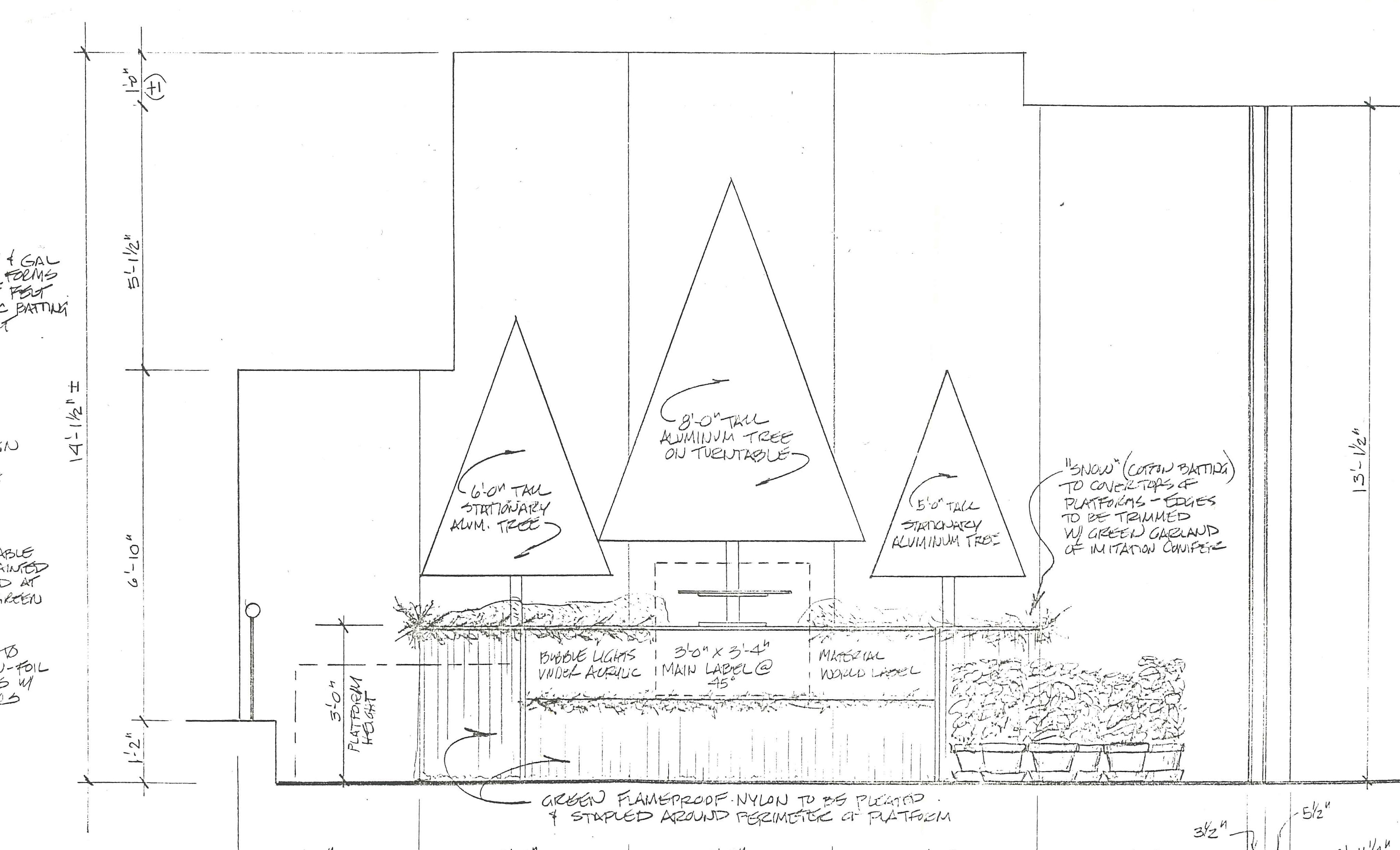 Trees of Christmas - Exhibition drawings, 1992. Smithsonian Institution Archives, Accession 96-001: