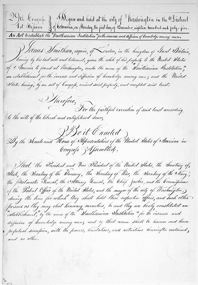 9 Stat 102, Legislation establishing the Smithsonian Institution.  Smithsonian Institutional Archives, Record Unit 7098, Oversize, Neg. # 96-1652 – 96-1660.