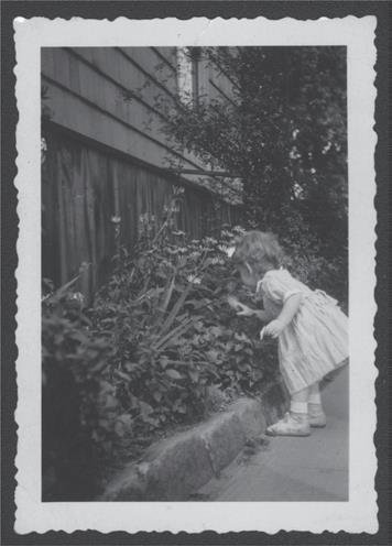 A young child leans over to touch plants.