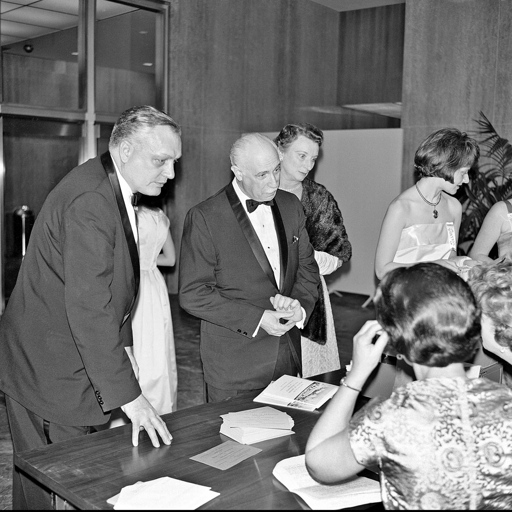Secretary Leonard Carmichael and guests at the dedication of the Museum of History and Technology, now known as National Museum of American History.  Smithsonian Institution Archives, Record Unit 285, Box 9, Folder 7.