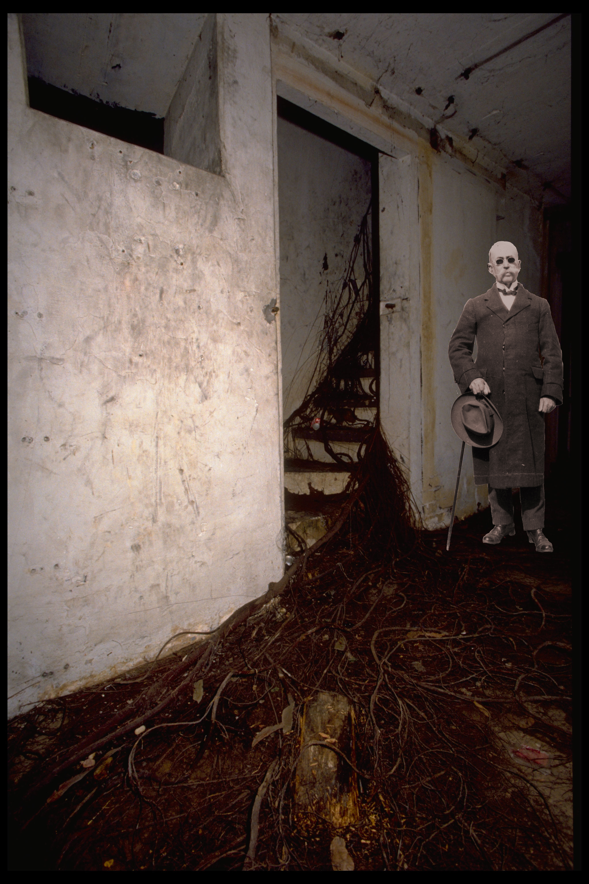 Image of a man with glasses photoshopped into a grimy room. The floor is covered by an overgrown tre
