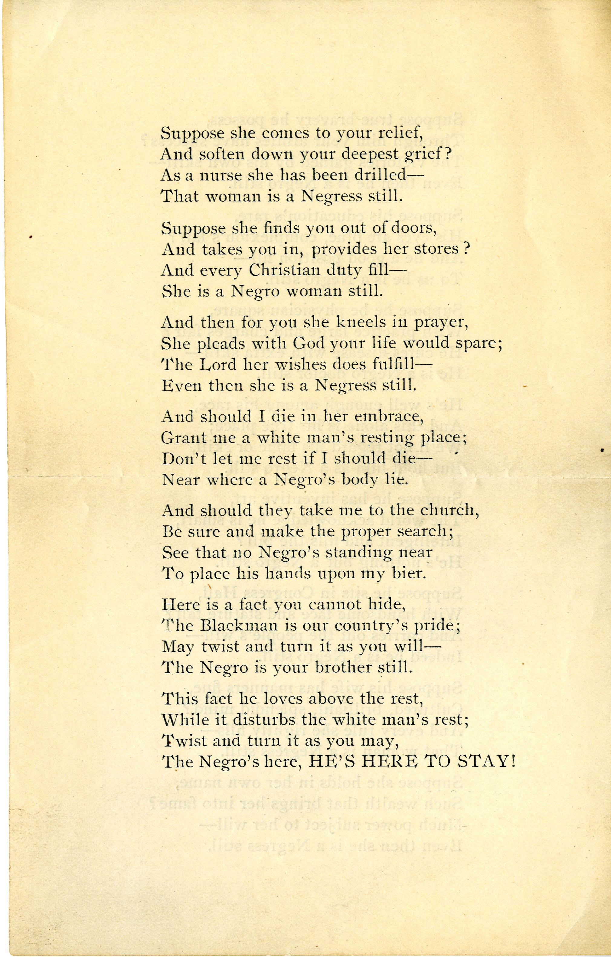 """He is a Negro Still"" by Solomon Brown, 1891."