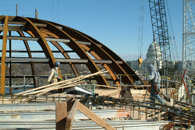 Construction in 2002 of the National Museum of the American Indian.