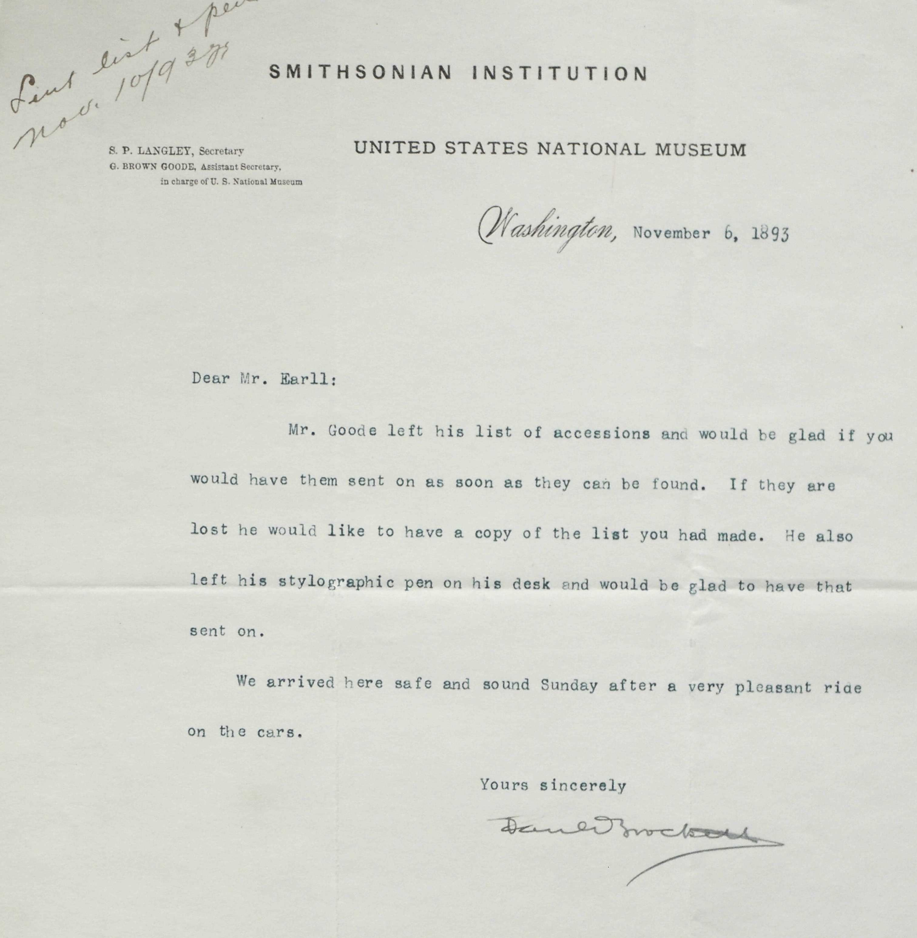 Letter to R. Edward Earll requesting the return of Mr. Goode's list of accessions and stylographic p