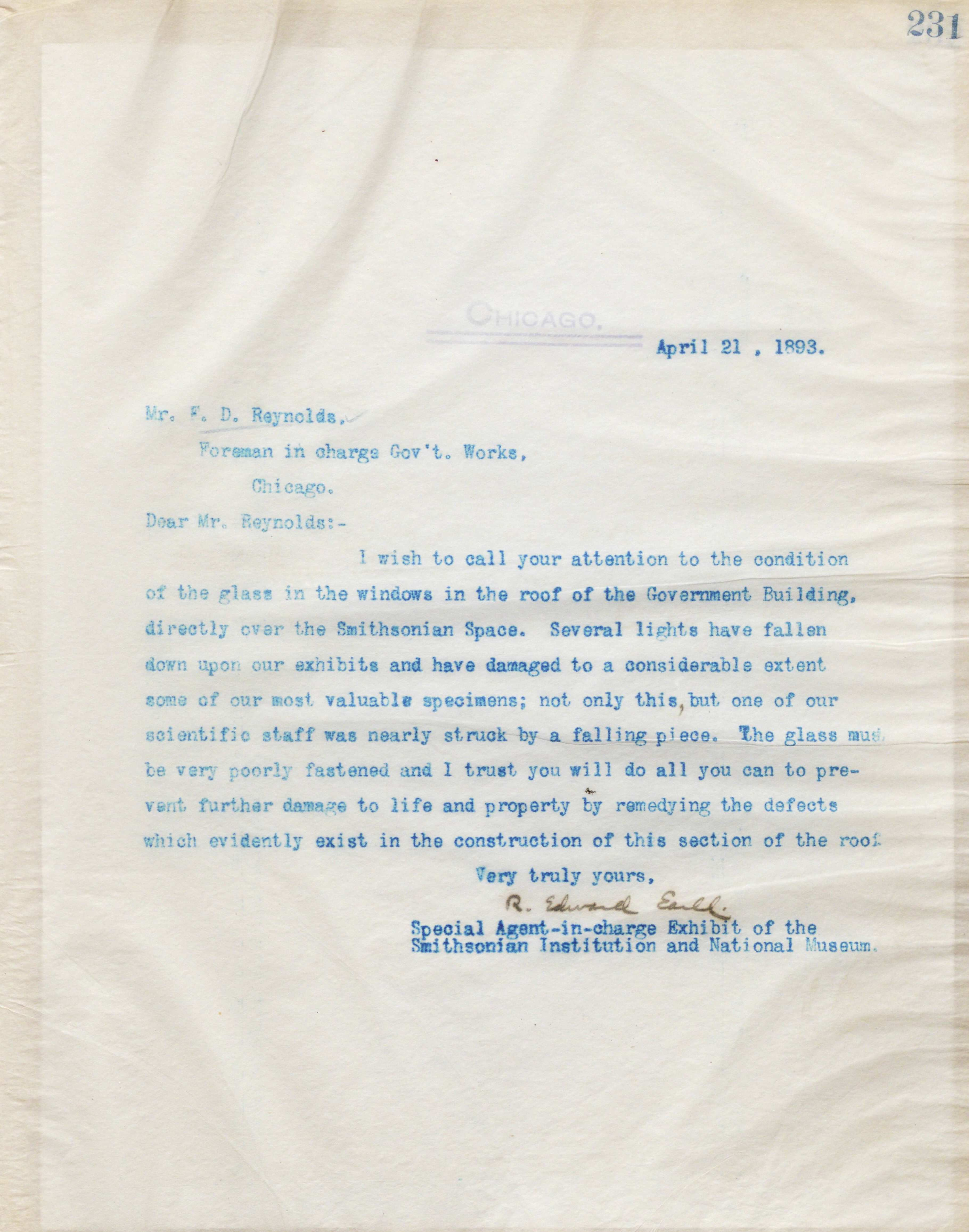 Letter from R. Edward Earll complaining to F.D. Reynolds about the state of the glass windows in the