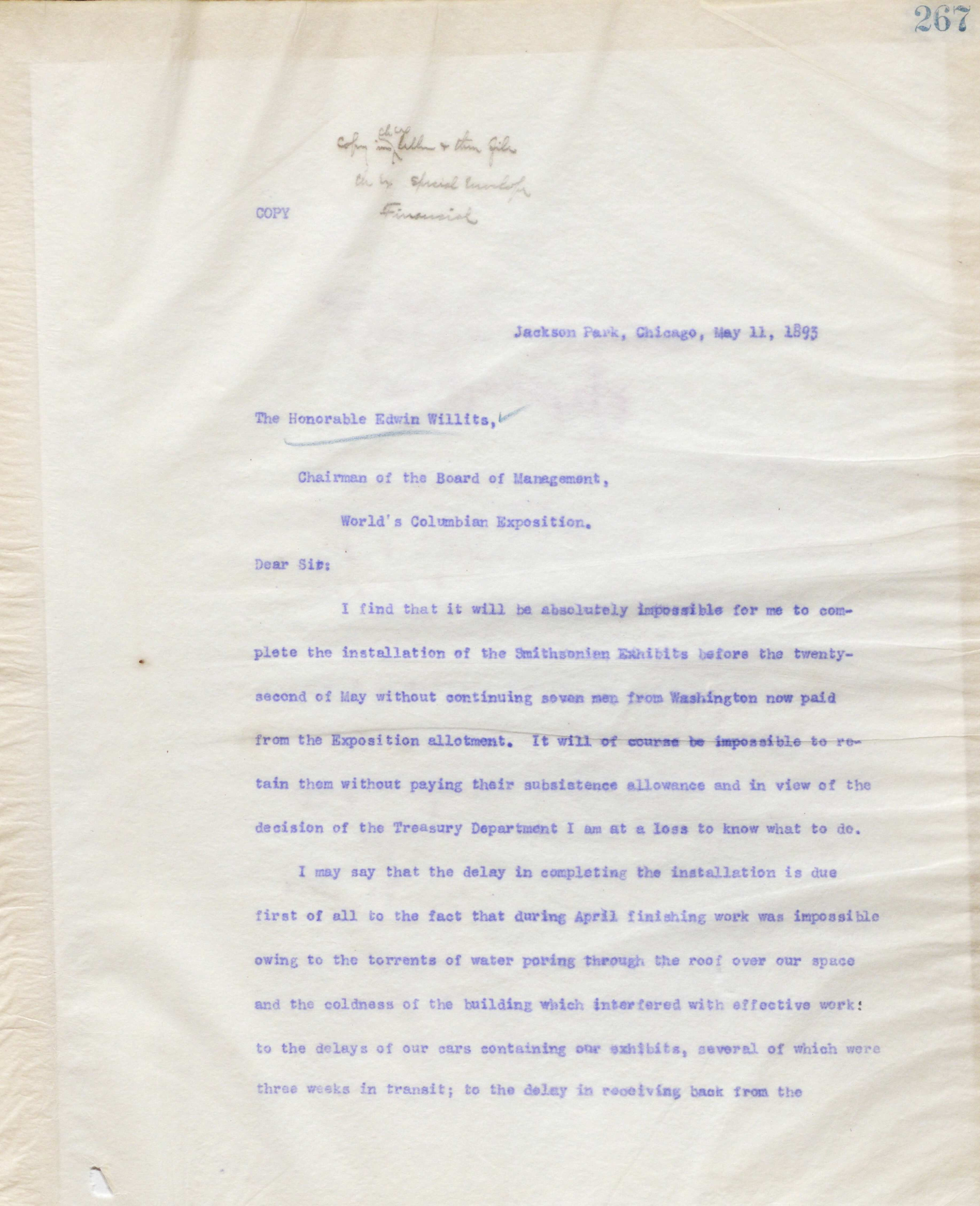 Letter from R. Edward Earll explaining delays in exhibit installation.