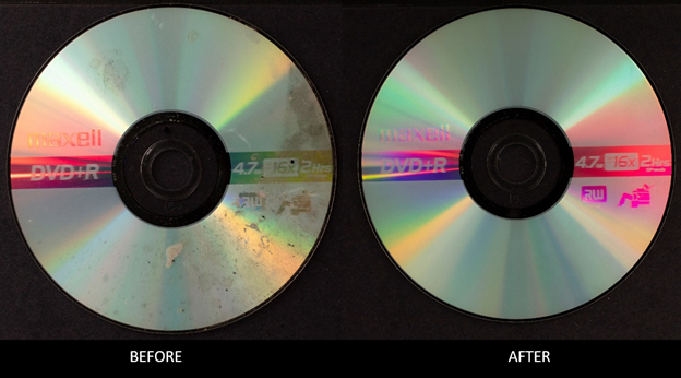 """A DVD with water spots is on the left and underneath it is the word """"BEFORE."""" On the right is an ima"""