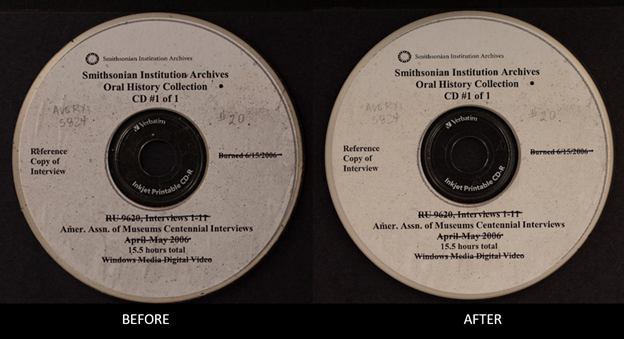 """A disc with a label is covered with soot on the left and underneath it is the word """"BEFORE."""" On the"""