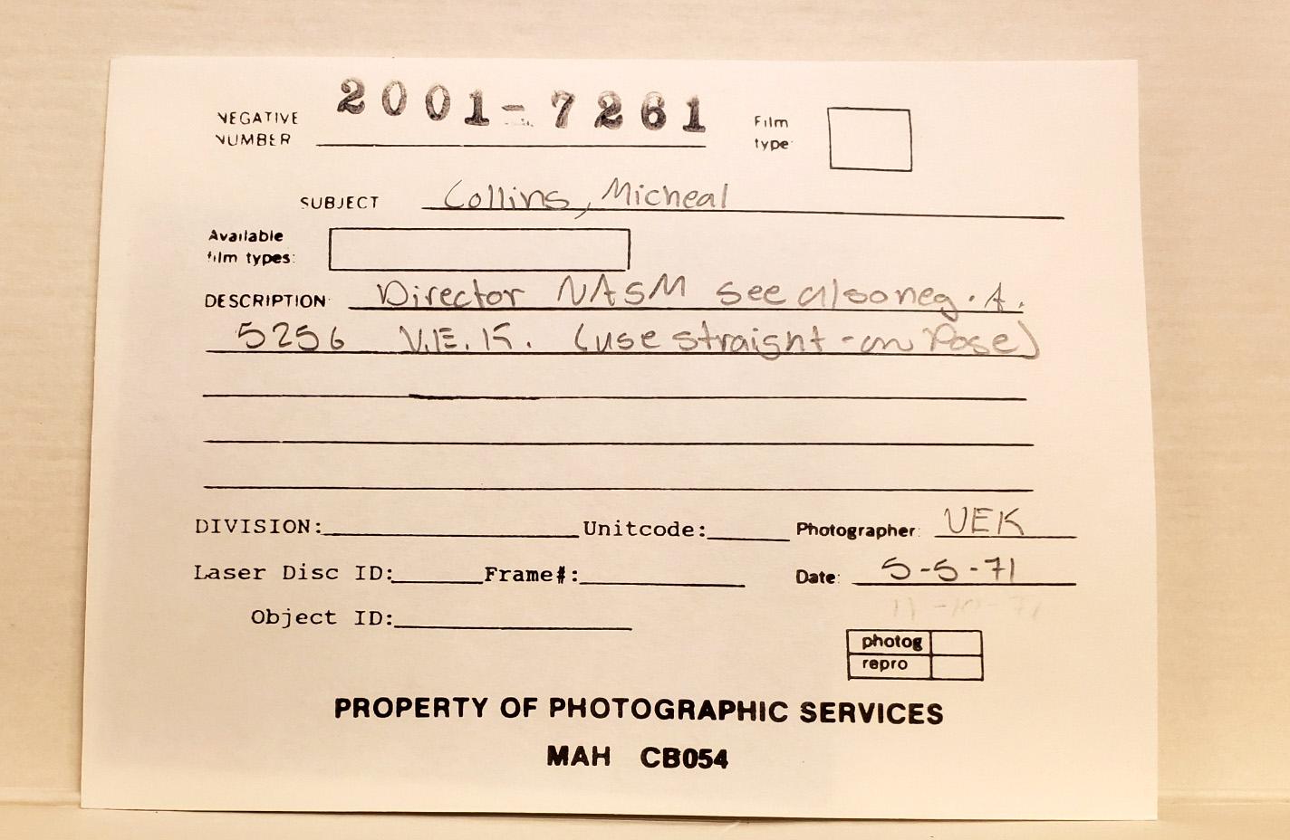 Photographic services catalog record.